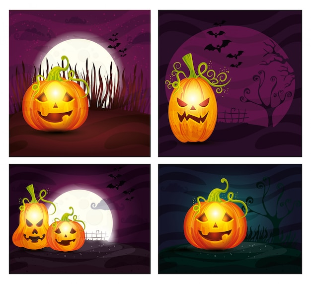 Set of pumpkins in halloween scenes