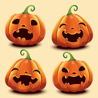 Set of pumpkins with different faces for halloween. vector illustration. isolated.