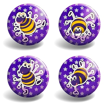 Set of purple badges with bugs
