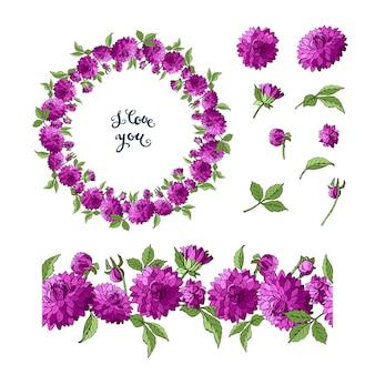 Set of purple dahlia floral elements