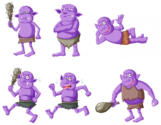 Set of purple goblin or troll in different poses in cartoon character