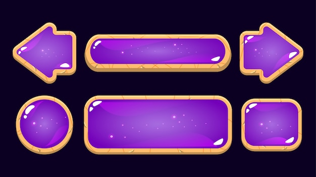 Set of purple jelly button with wooden border. perfect for 2d games
