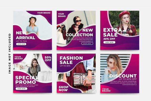 Set of purple sale social media post template