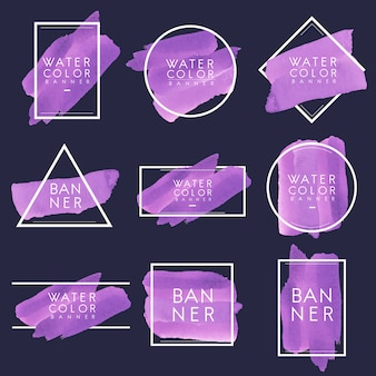 Set of purple watercolor banner design vector