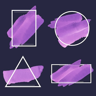 Set of purple watercolor banner Free Vector