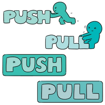 Set of push pull sign
