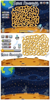 Set of puzzle game on space background