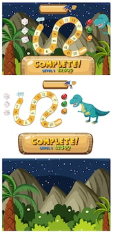Set of puzzle game templates with mountain background