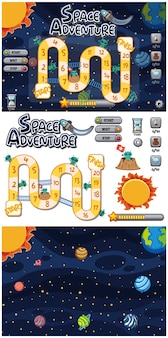 Set of puzzle game with many planets in galaxy