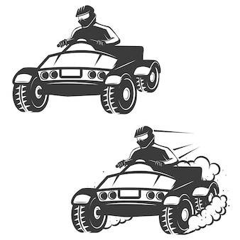 Set of quad bike with driver icons  on white background.  elements for logo, label, emblem, sign, brand mark, poster.