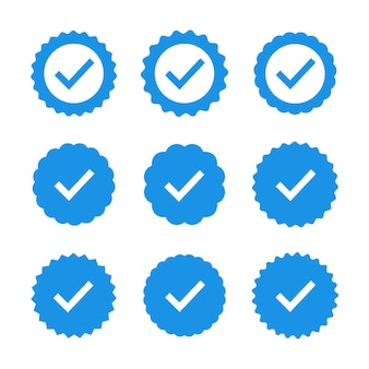 Set of quality icons. blue flat star shape stickers. profile verification sign.   badges of warranty, approval, accept and quality. flat   check mark.
