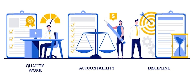 Set of quality work, accountability, discipline, task and project management