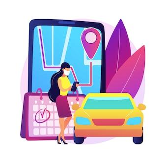 迅速かつ効率的なピックアップサービスの抽象的な概念図を設定します。従業員の安全、中小企業の所有者、コロナウイルスへの曝露、クイックサービスの顧客、注文の組み立て