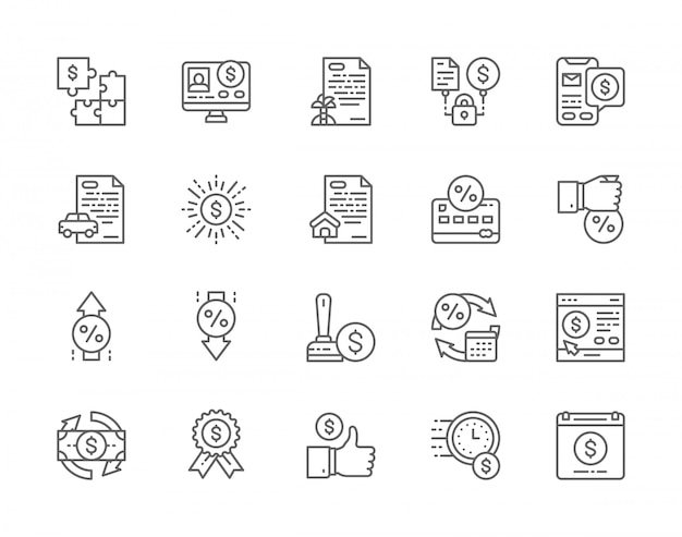 Set of quick loan line icons.