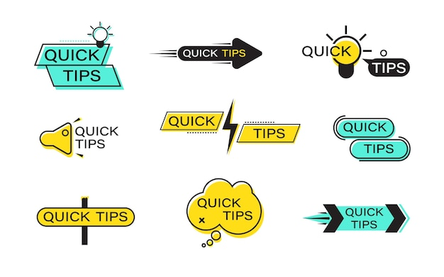 Set of quick tip banners. quick tips flat labels