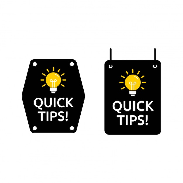 Set of quick tips in square and hexagon shape. designed in black and yellow color with light icon