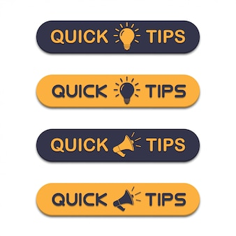 Set of quick tips with megaphone and lightbulb in a flat design