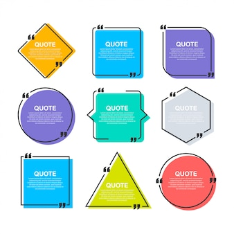 Set quote frames. blank template with print information design quotes.