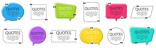 Set of quote frames. speech bubbles with quotation marks, isolated on white background. blank text box and quotes. blog post template. vector illustration.