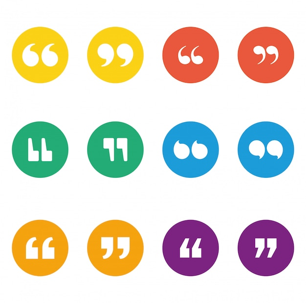Set of quotes icons inside multicolored circles