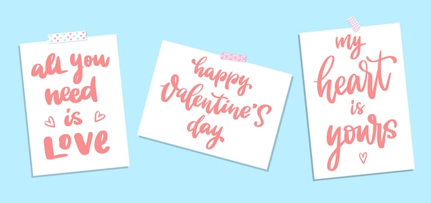 Set of quotes lettering for valentine's day