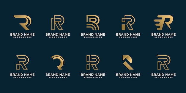 Set of r logo collection for business premium vector
