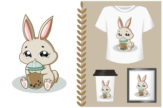Набор кролик держит напиток