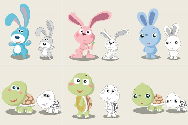 Set of rabbit turtle cartoon