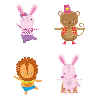 Set rabbit with monkey and lion costume entertainment