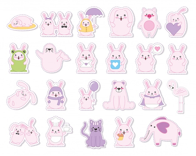 Set of rabbits and animals kawaii characters