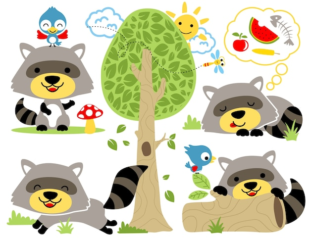 Set of raccoon cartoon with friends