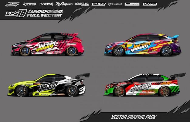 Set of race car decal wrap