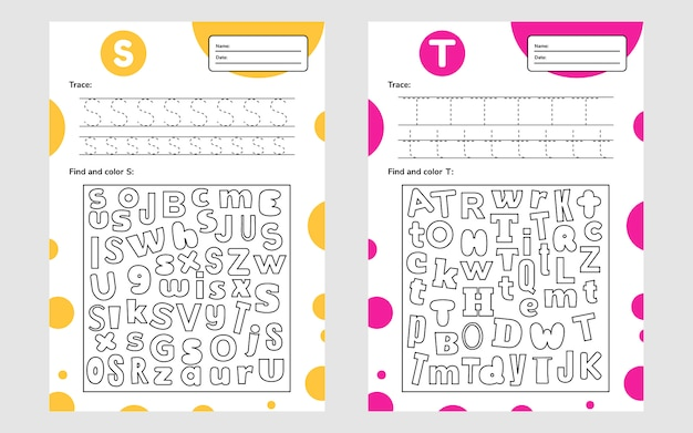 Установите рабочий лист письма a4 для детей дошкольного и школьного возраста. игра для детей. найдите и раскрасьте.