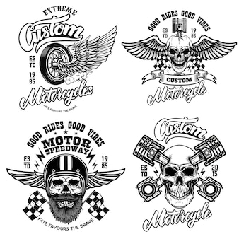 Set of racer emblem templates with motorcycle motor