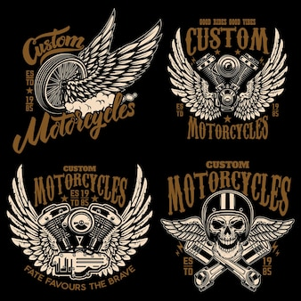 Set of racer emblem templates with motorcycle