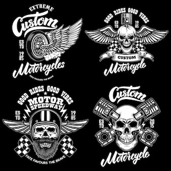 Set of racer emblem templates with racer skulls