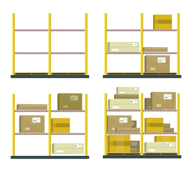 Set of racks with boxes in flat design