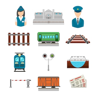 Set of railroad icons in flat style. bridge and gate, ticket and railway station, driver and conductor, platform transportation