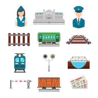 Set di icone ferroviarie in stile piatto. ponte e cancello, biglietto e stazione ferroviaria, autista e conduttore, piattaforma di trasporto