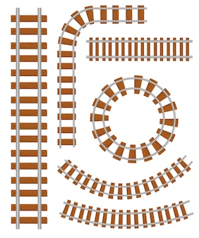 Set of  railroad and railway tracks construction elements. straight and curved railroad track. trackway structure for traffic train.  illustration  on white background