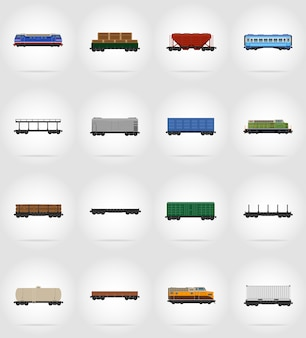 Set of railway carriage train flat vector illustration