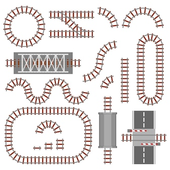 Set of railway parts, rail or railroad top view. different train constructions elements.