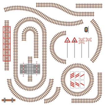 Set of railway parts and road signs.  illustration.
