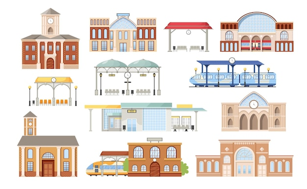Set of railway stations buildings, platforms with seats and trains. modern exterior design, digital display, clock tower