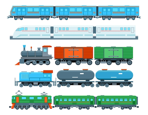 Set of railway trains in flat style. transport subway, travel and vehicle