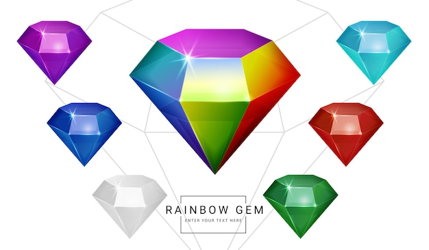 Set of rainbow color fantasy jewelry gems, stone for game.