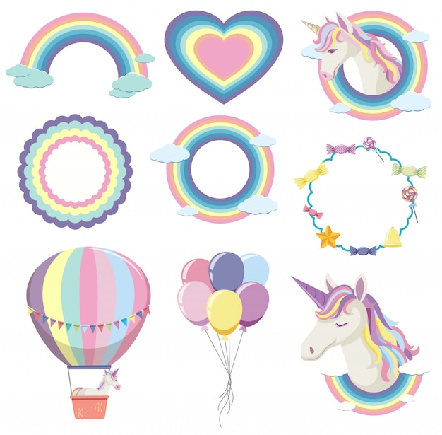 Set of rainbow farme in pastel color
