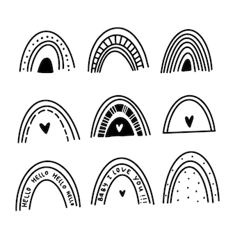 Set of rainbows in doodle style