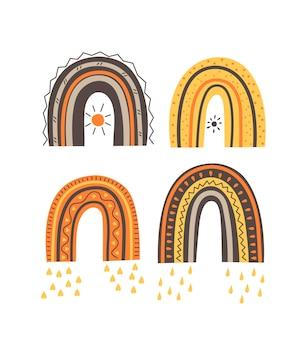 Set of rainbows in a scandinavian style