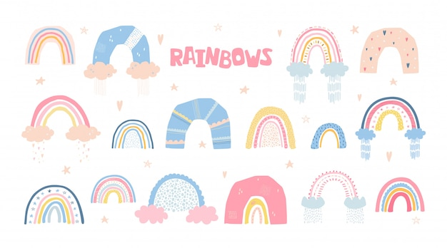 Set rainbows with sun, clouds, rain in cartoon style isolated